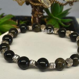 Bracelet obsidienne doree 1