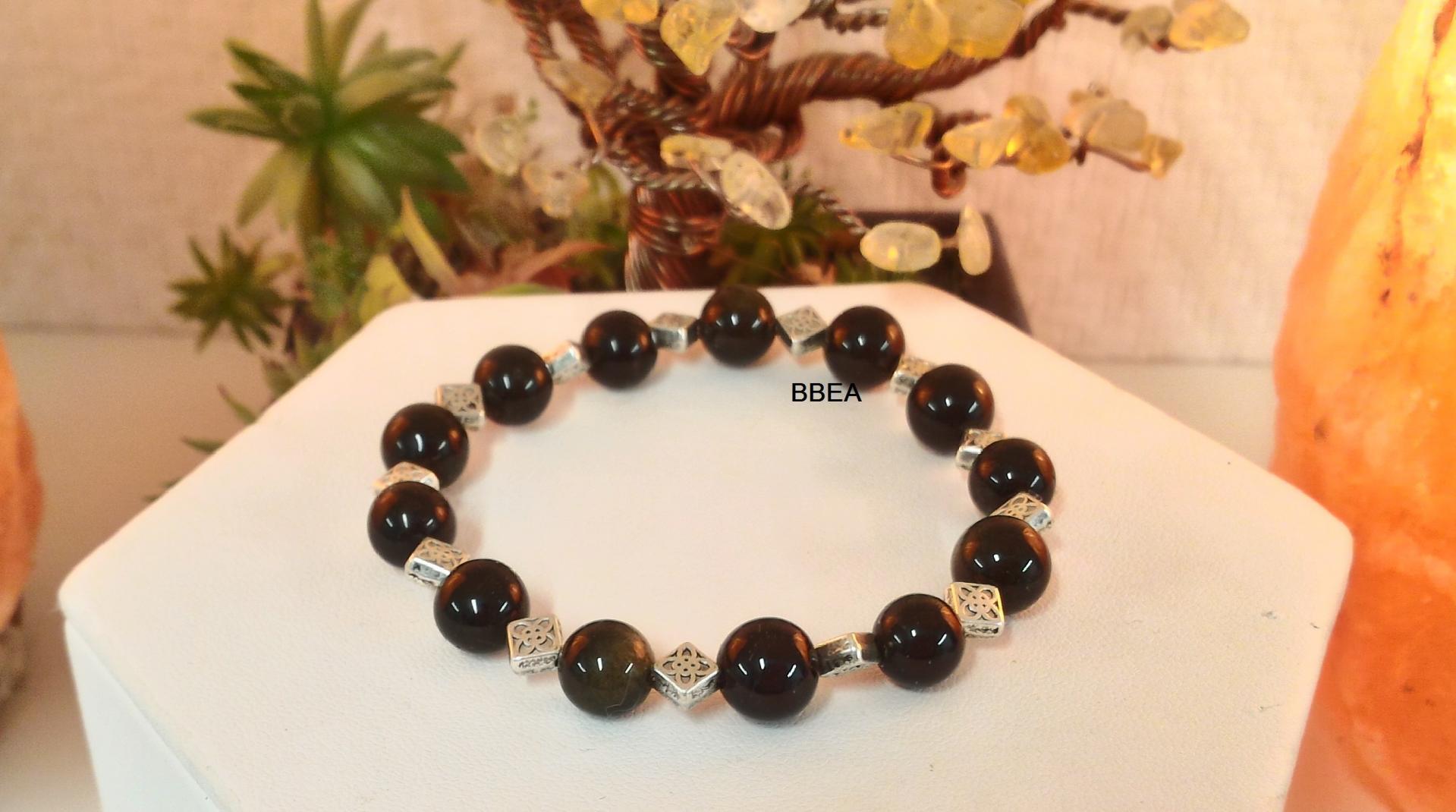 Bracelet obsidienne doree 2 2
