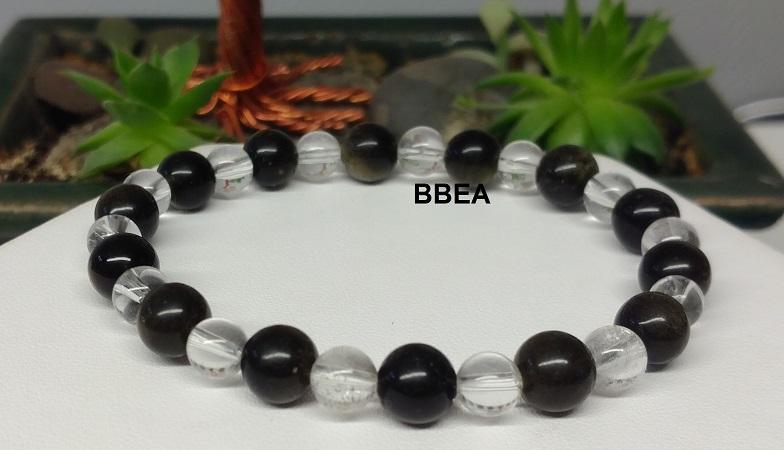 Bracelet obsidienne doree 3