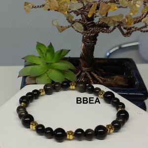 Bracelet obsidienne doree 4