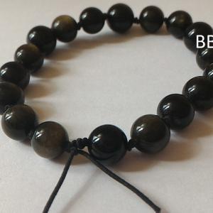 Bracelet obsidienne doree