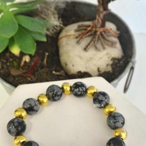 Bracelet obsidienne neige 1