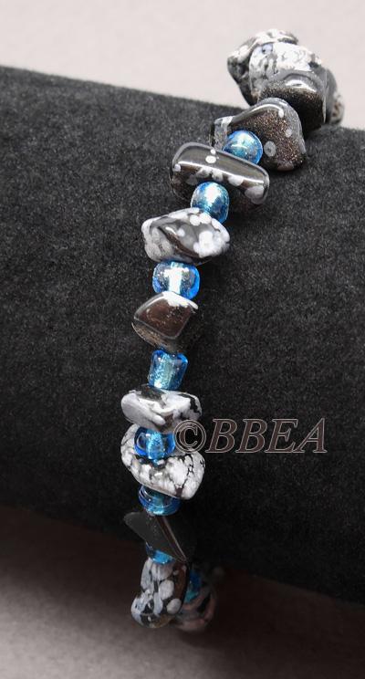 Bracelet obsidienne neige 3219