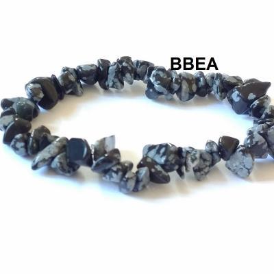Bracelet obsidienne neige chips