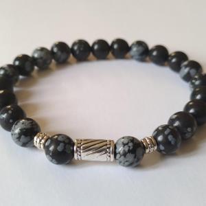 Bracelet obsidienne neige homme 2