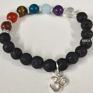 Bracelet pierre de lave et 7 chakras 1