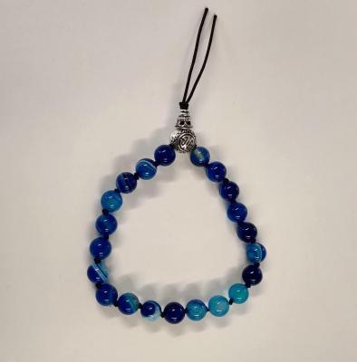 Bracelet tibetain agate bleue