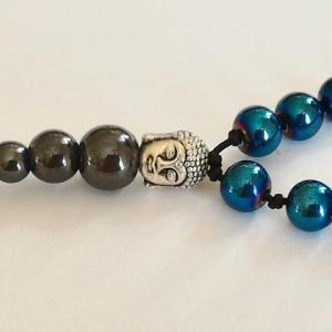 Bracelet tibetain hematite teintee bleue