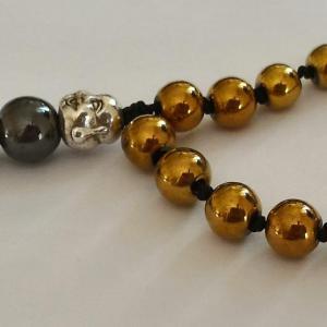 Bracelet tibetain hematite teintee jaune
