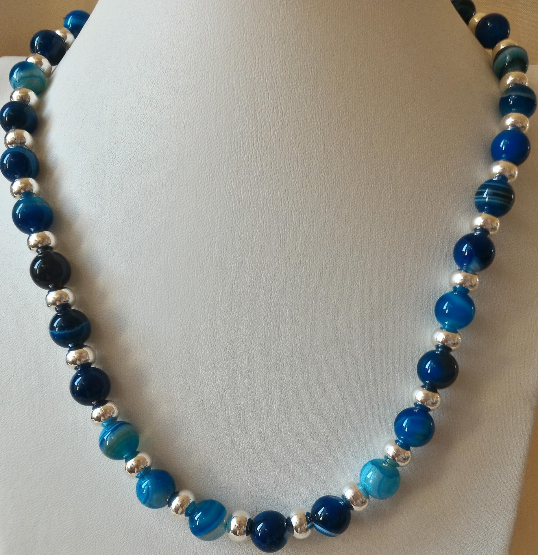 Collier agate bleue 2