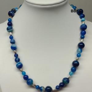 Collier agate bleue