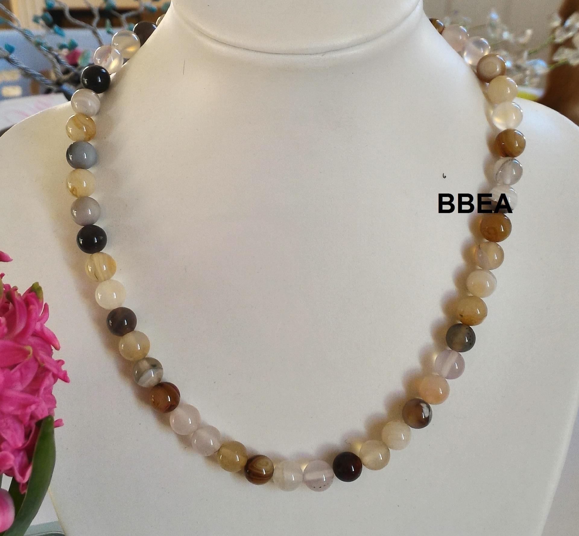 Collier agate botswana