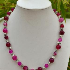 Collier agate rose 1