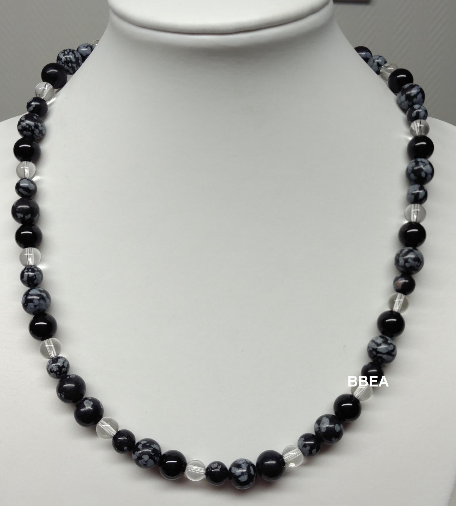 Collier obsidienne neige 2 1