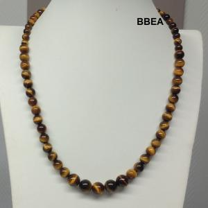 Collier oeil de tigre perles progressives 6 a 10mm 3