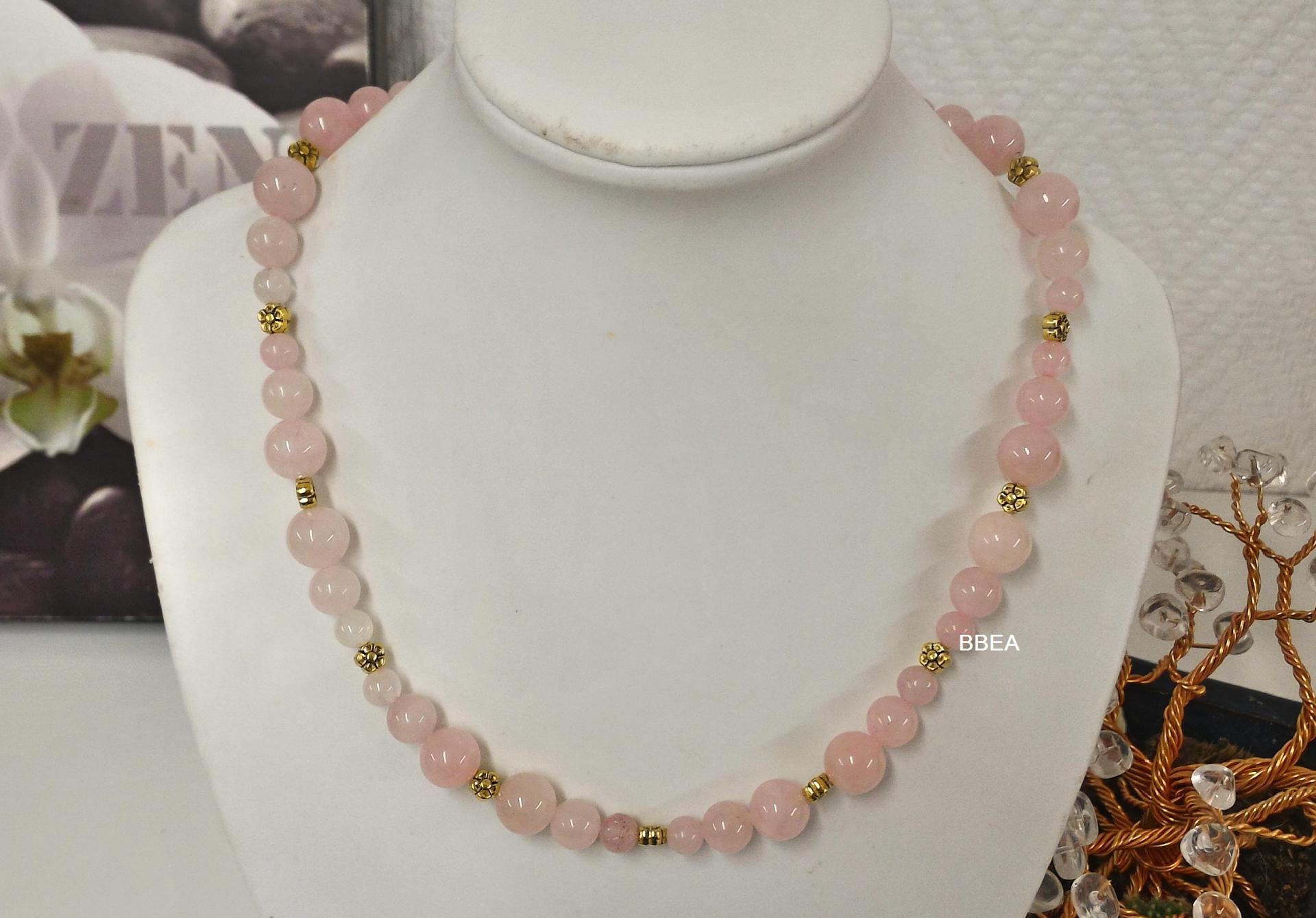 Collier quartz rose 8