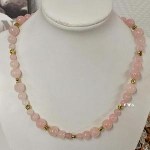 Collier quartz rose 8