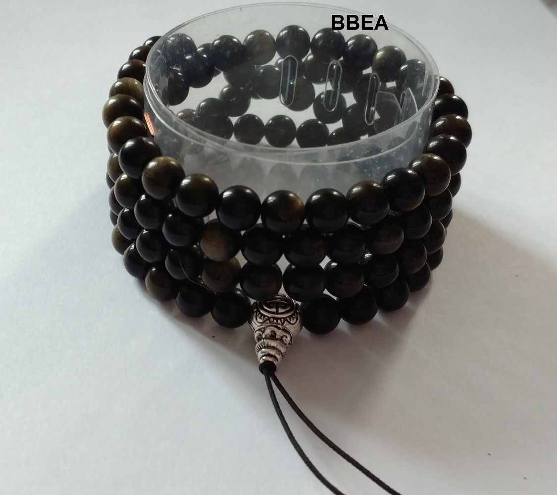 Mala tibetain obsidienne doree 1