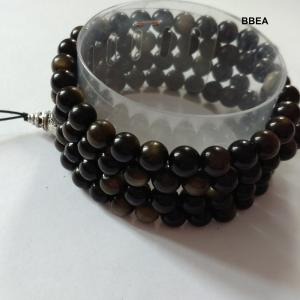 Mala tibetain obsidienne doree 2