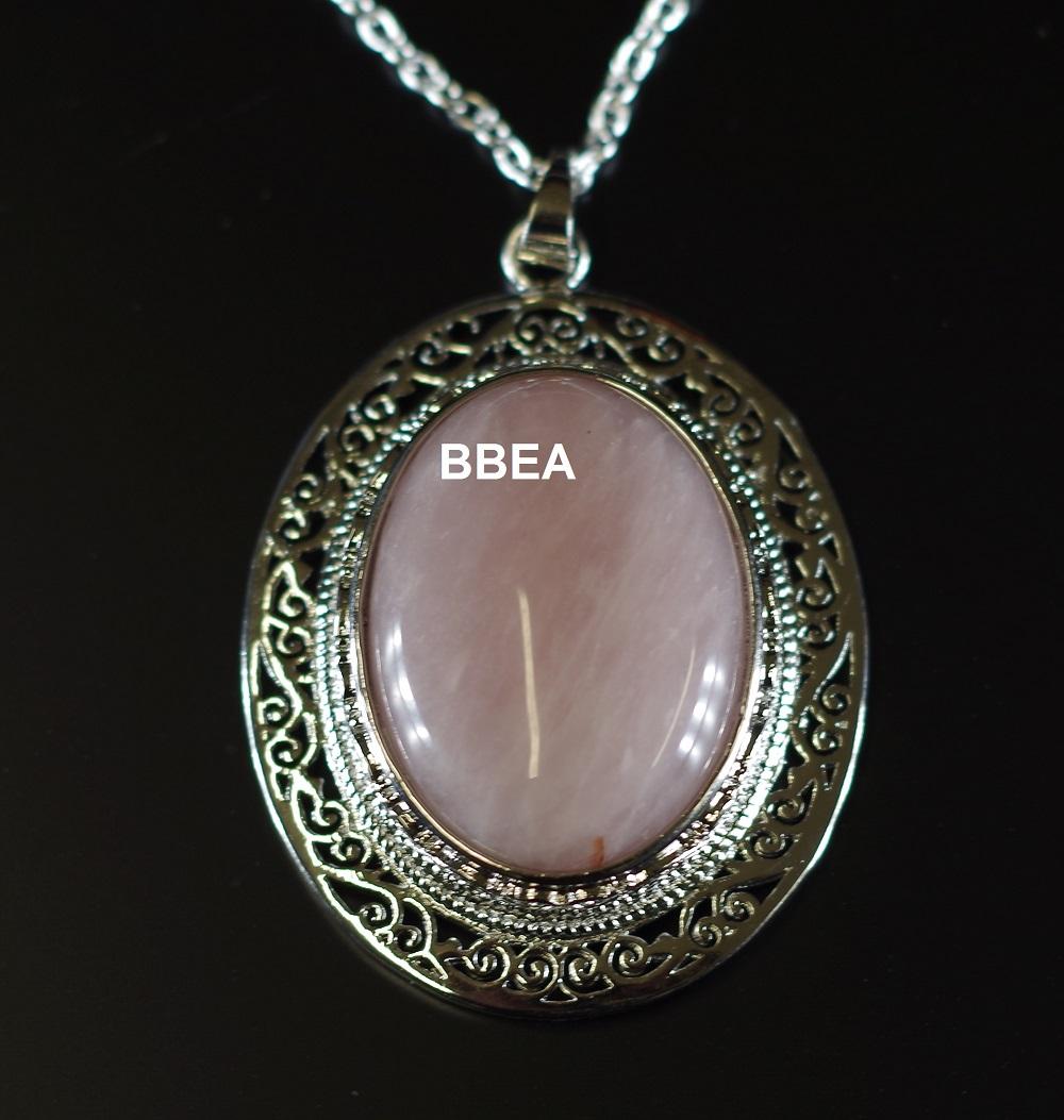 Pendentif quartz rose 1 2