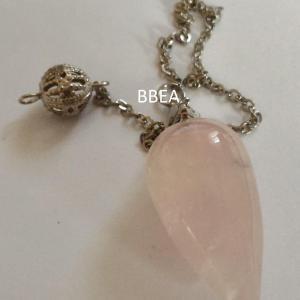 Pendule en quartz rose goutte 30mm