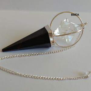 Pendule shungite et merkaba cristal de roche 1