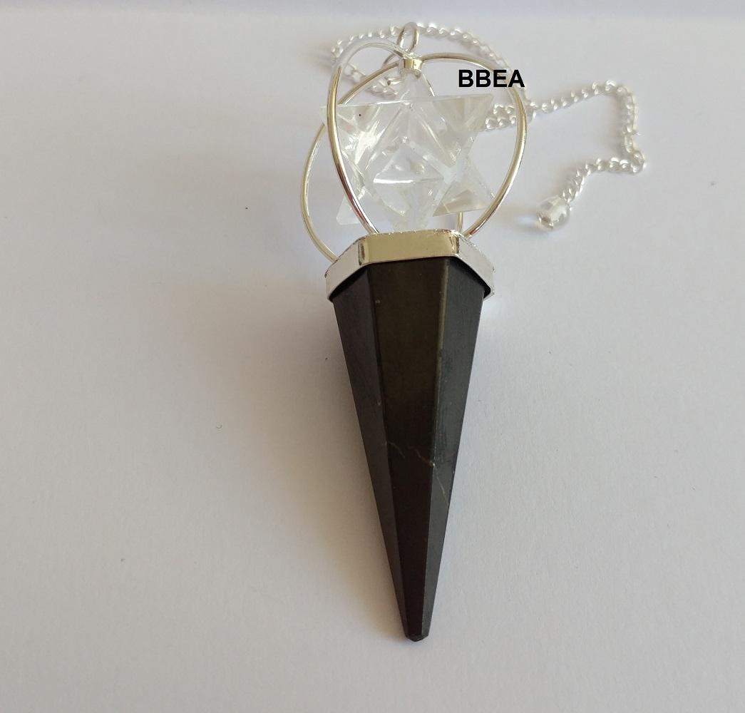 Pendule shungite et merkaba cristal de roche 2